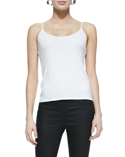 Scoop-Neck Jersey Cami, White, Plus Size