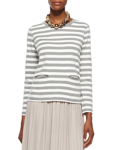 Long-Sleeve Striped Top, Plus Size