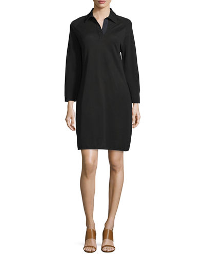 3/4-Sleeve Shirttail Pique Dress, Petite