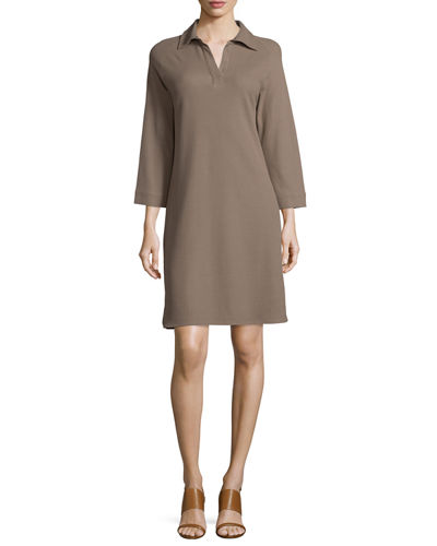 3/4-Sleeve Shirttail Pique Dress, Plus Size