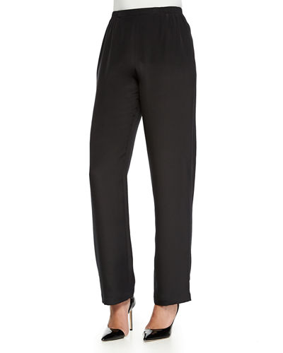 Caroline Rose Silk Crepe Straight-Leg Pants, Petite