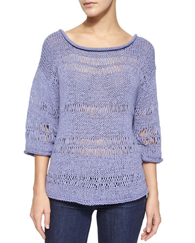 3/4-Sleeve Exposed Knit Pullover