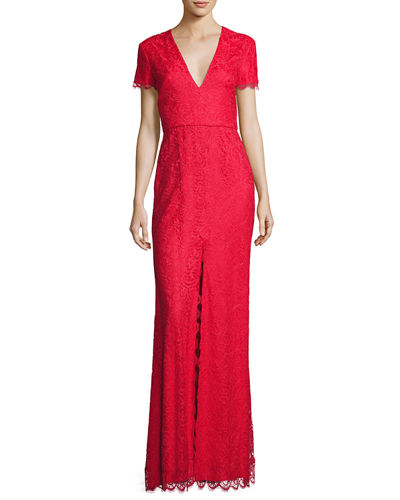 Monique Lhuillier Cap-Sleeve Chantilly Lace Gown