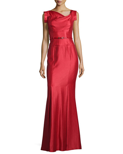 Asymmetric-Neck Mermaid Gown, Red