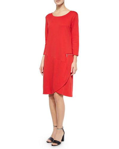 Joan Vass 3/4-Sleeve Shift Dress W/ Zipper Detail,
