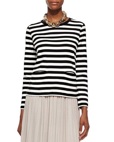 Long-Sleeve Striped Top, Petite