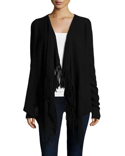 Neiman Marcus Cashmere Collection Draped Cashmere Cardigan W/ Fringe