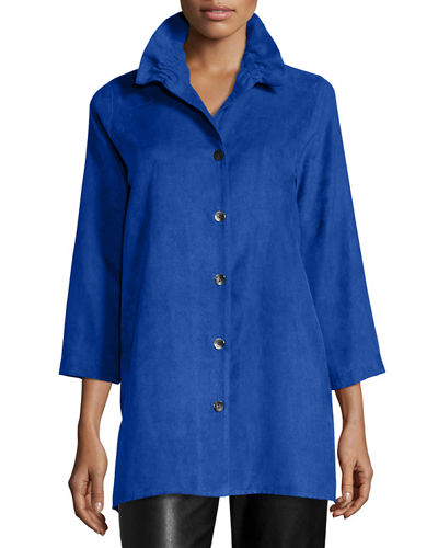 Caroline Rose Faux-Suede Long Shirt, Plus Size