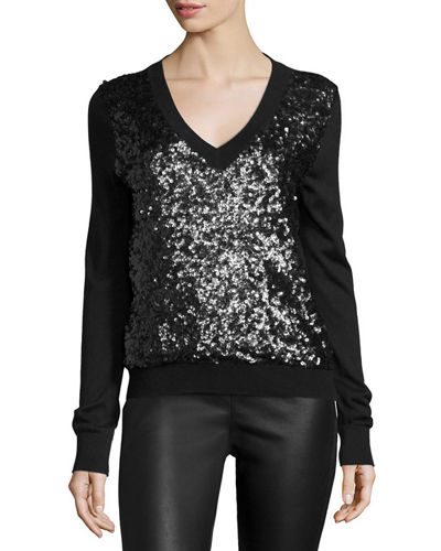 Magaschoni Long-Sleeve Sequined-Front Sweater