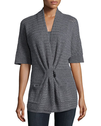Neiman Marcus Cashmere Collection Cashmere Basketweave Toggle-Front Cardigan