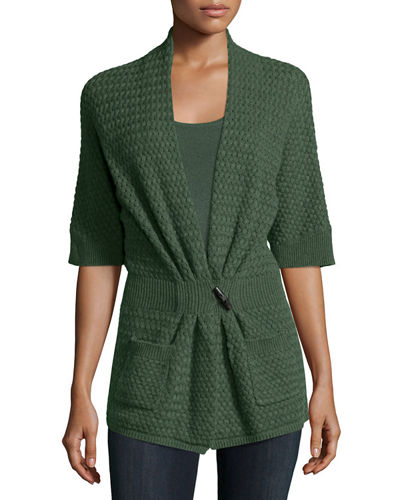 Cashmere Basketweave Toggle-Front Cardigan