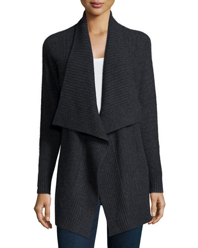 Neiman Marcus Cashmere Collection Mixed-Stitch Draped Cashmere
