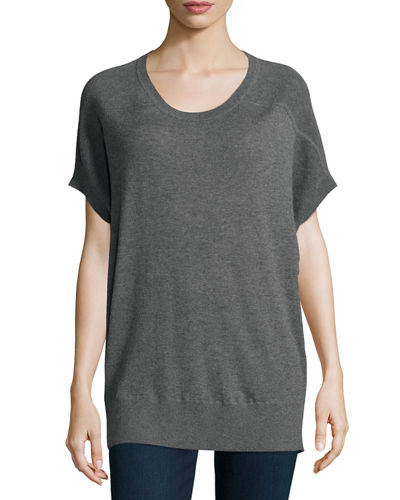 Neiman Marcus Cashmere Collection Short-Sleeve Cashmere Sweater