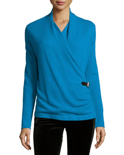 Neiman Marcus Cashmere Collection Cashmere Belted Wrap Top