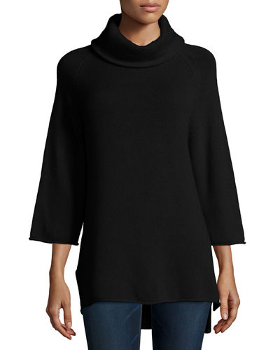 Neiman Marcus Cashmere Collection Cowl-Neck 3/4-Sleeve Cashmere Tunic