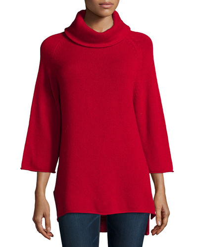 Neiman Marcus Cashmere Collection Cowl-Neck 3/4-Sleeve Cashmere
