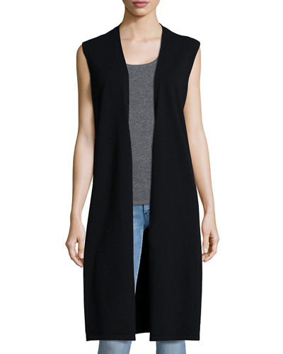 Neiman Marcus Cashmere Collection Long Cashmere Vest W/ Side Slits