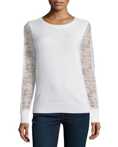 MagaschoniCashmere Lace-Sleeve Sweater