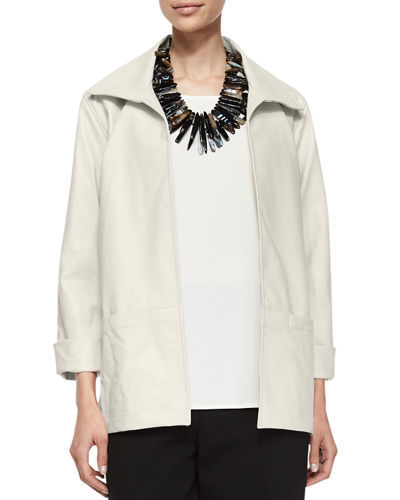 Caroline Rose Modern Faux-Leather Jacket, Petite