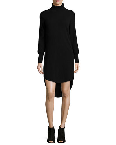 Neiman Marcus Cashmere Collection Turtleneck High-Low Cashmere Dress