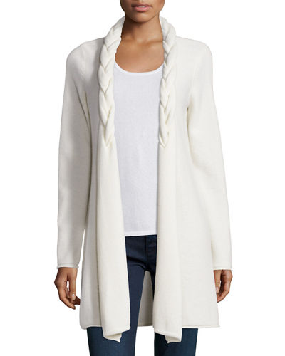 Neiman Marcus Cashmere Collection Reverse Braided Cashmere
