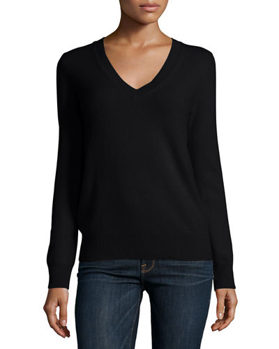 Neiman Marcus Cashmere Collection Long-Sleeve Deep V-Neck