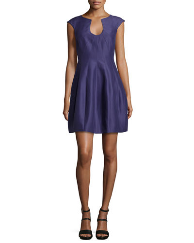 Halston Heritage Cap-Sleeve Bubble-Skirt Cocktail Dress