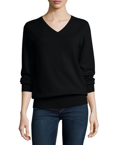 Neiman Marcus Cashmere Collection Long-Sleeve V-Neck Relaxed-Fit Cashmere ...