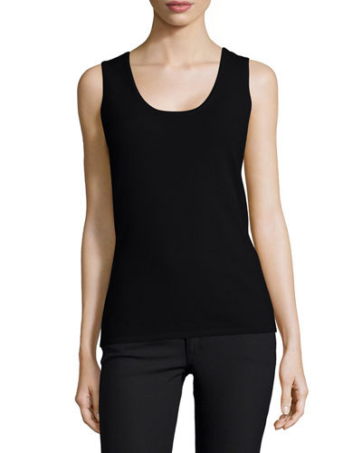 Neiman Marcus Cashmere Collection Scoop-Neck Cashmere Tank, Women's