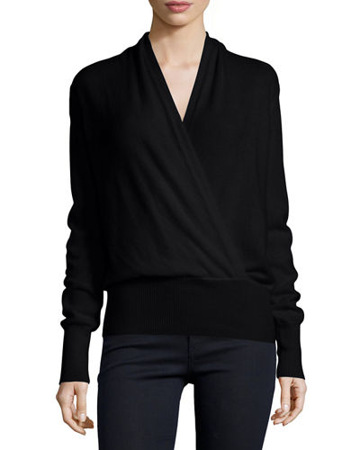 Faux-Wrap Cashmere Sweater