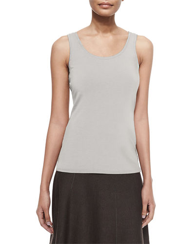 Perfect Jersey Scoop-Neck Tank, Silver Cloud, Petite