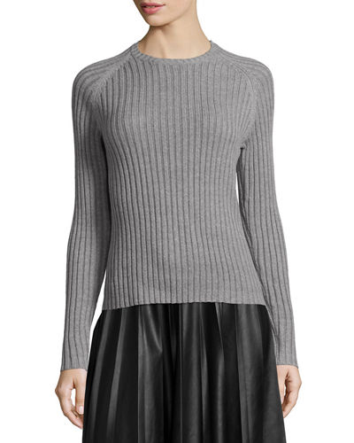 Neiman Marcus Long-Sleeve Ribbed Knit Sweater