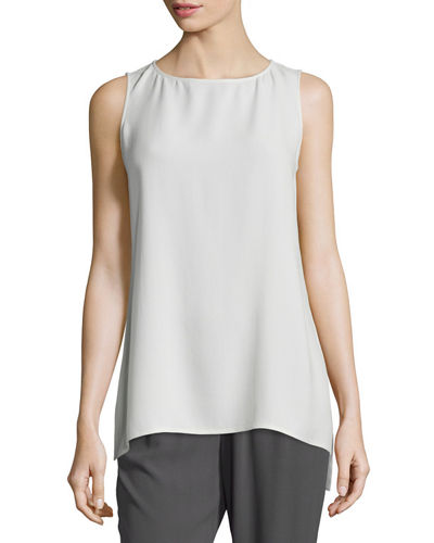 Sleeveless Silk Long Shell
