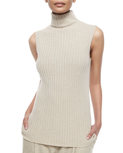 Sleeveless Ribbed Cashmere Sweater