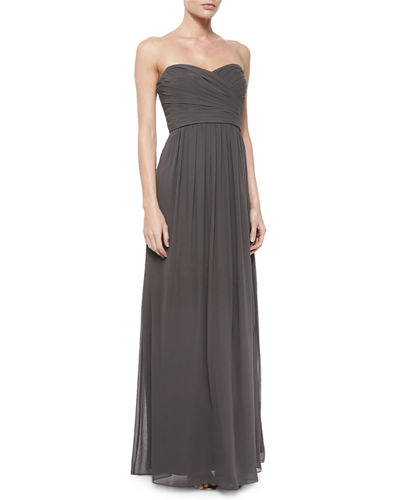 Monique Lhuillier Bridesmaids Strapless Ruched-Bodice Gown,