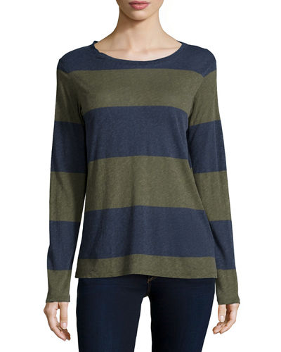 Majestic Paris for Neiman Marcus Cotton/Cashmere Long-Sleeve Striped Top