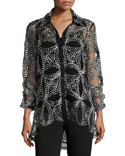 Berek Seeds of Gold Sheer Blouse, Plus Size