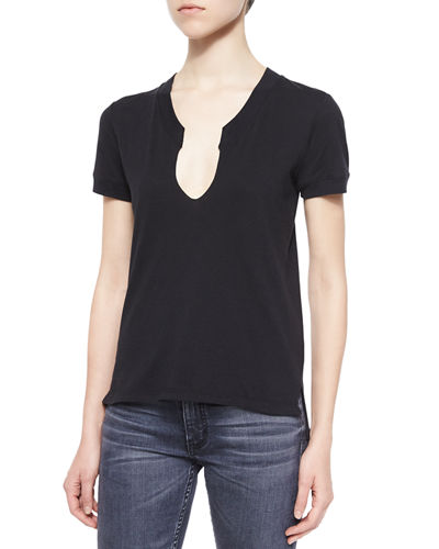 Helmut Lang Split-Neck Cotton Tee