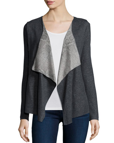 Majestic Paris for Neiman Marcus Double-Knit Cardigan with Python-Print Collar