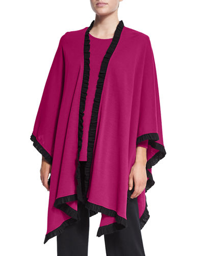 Caroline Rose Colorblock Wrap W/ Ruffled Trim