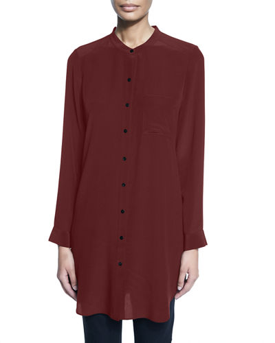Eileen Fisher Long-Sleeve Silk Tunic/Shirt, Petite