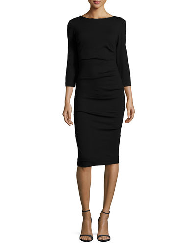 Nicole Miller Artelier 3/4-Sleeve Ruched Knit Sheath Dress