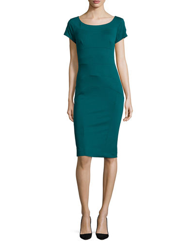 Nicole Miller Artelier Short-Sleeve Ponte Body-Conscious Sheath