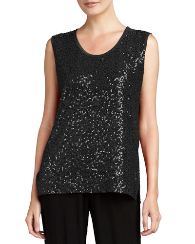 Caroline Rose Sequined Scoop-Neck Tank
