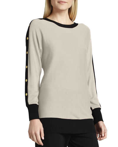 Joan Vass Colorblock Button-Sleeve Sweater