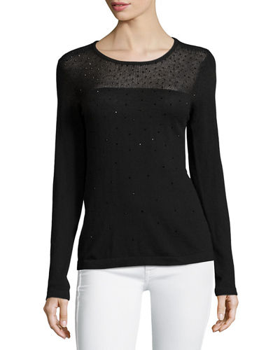 Neiman Marcus Sequined Sheer-Yoke Sweater