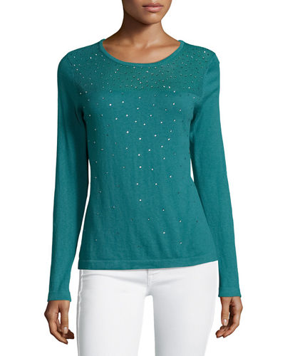 Sequined Sheer-Yoke Sweater