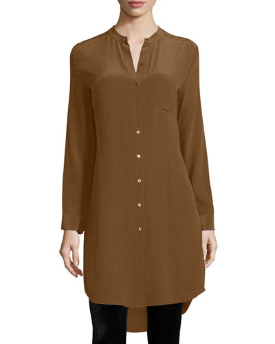 Eileen Fisher Long-Sleeve Silk Tunic/Shirt