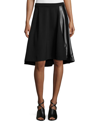 Ponte Skirt W/ Faux-Leather Panel