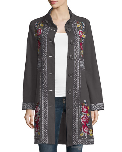Joy Embroidered Military Coat, Plus Size